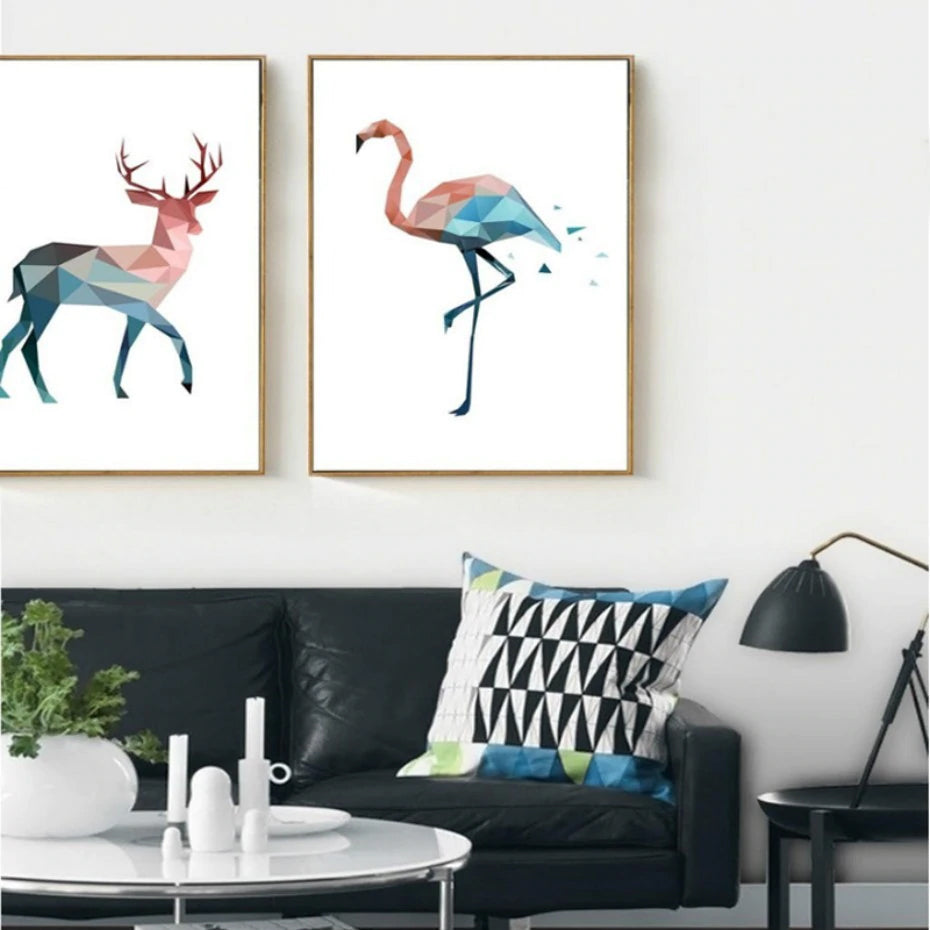 Abstract Geometric Animals Wall Art Pastel Jade and Pink Flamingo Bear and Deer Nordic Canvas Painting For Modern Home Decor