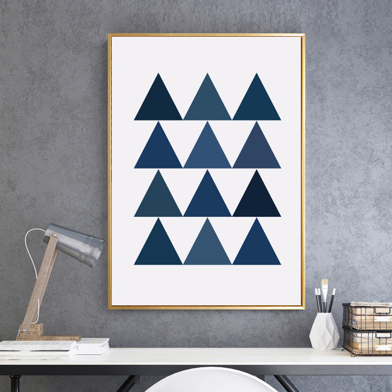 Abstract Geometric Art Poster Triangular Wall Art Canvas Shades of Blue Painting For Modern Living Room Home Decoration