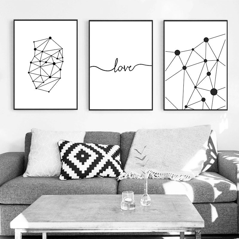 Abstract Geometric Black White Wall Art Interconnected Nodal Network Love Quotation Canvas Prints Posters for Living Room Office Home Decor