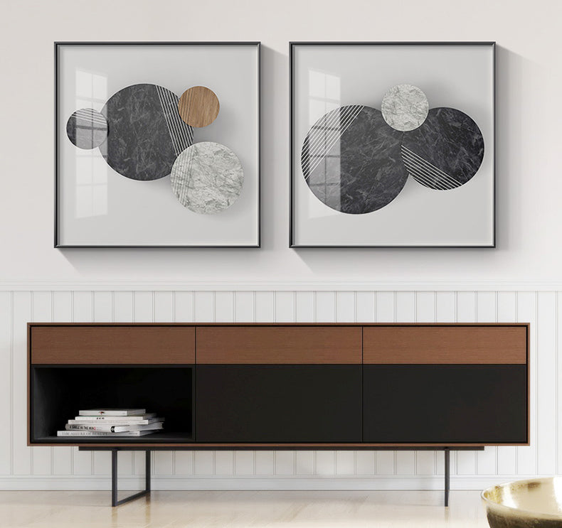 Abstract Geometric Circles Wall Art Natural Elements Marble Wood Texture Effect Fine Art Canvas Prints Pictures For Modern Home Office Interior Decor