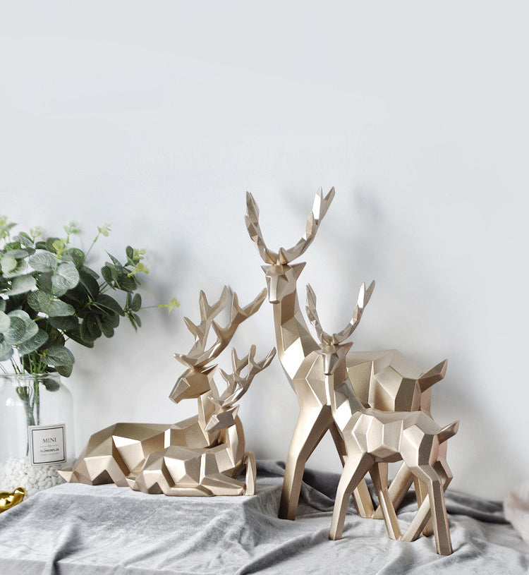 Abstract Geometric Golden Reindeer Figurines Sculptured Nordic Deer Statues For Tabletop Decoration Nordic Style Living Room In White Black Gold Blue Set Of Two