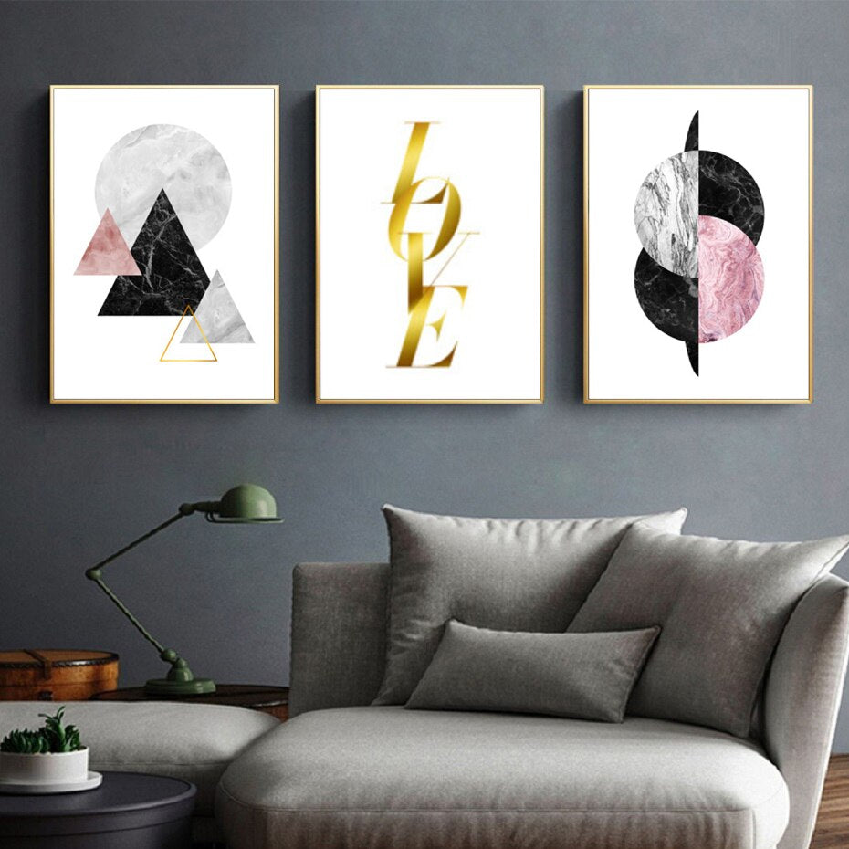Abstract Geometric Nordic Style Wall Art Pink Black Grey Gold Marble Design Fine Art Canvas Prints For Modern Bedroom Living Room Home Decor
