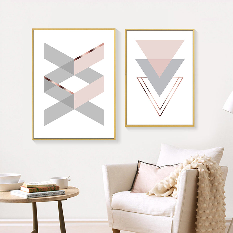 Abstract Geometric Wall Art Fine Art Canvas Prints Gray Pink White Minimalist Nordic Style Pictures For Bedroom Living Room Scandinavian Home Decor
