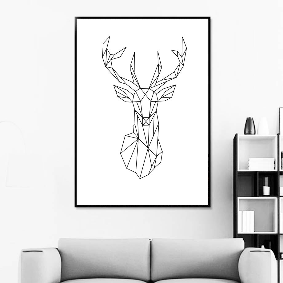 Abstract Geometric Wild Animals Nordic Style Black & White Minimalist Wall Art Fine Art Canvas Prints Posters For Living Room Bedroom Decor