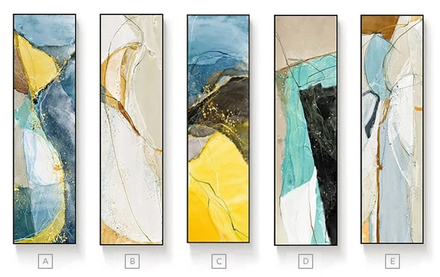 Abstract Geomorphic Vertical Strip Wall Art Fine Art Canvas Prints Modern Wide Format Pictures For Entrance Hall Living Room Home Office Wall Art Decor
