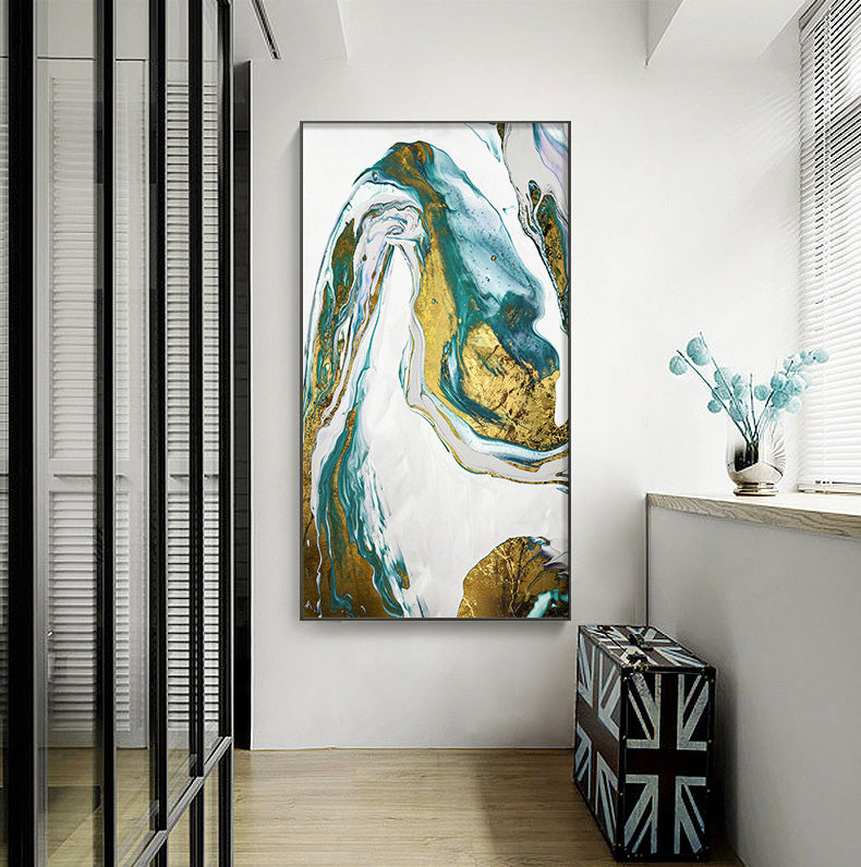 Abstract Golden Blue Marble Wall Art Nordic Style Fine Art Canvas Prints Modern Contemporary Pictures For Home Office Living Room Decor