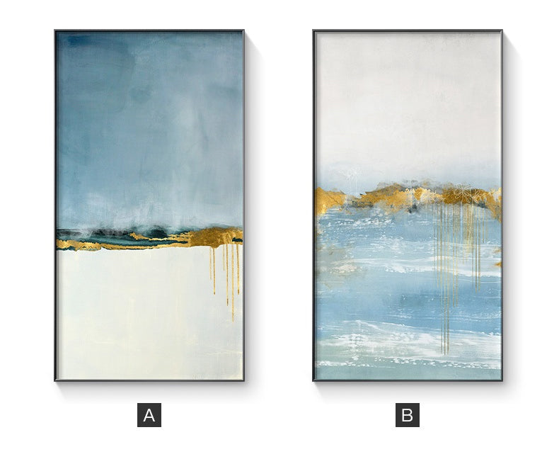 Abstract Golden Blue Summer Landscape Wall Art Fine Art Canvas Prints Minimalist Contemporary Picture For Living Room Bedroom Nordic Style Interior Wall Art Decor