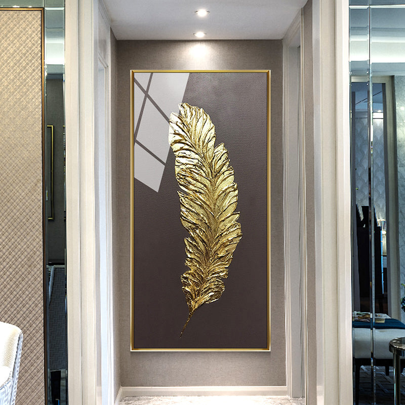Abstract Golden Feather Wall Art Fine Art Canvas Print Modern Minimalist Picture For Luxury Loft Apartment Living Room Home Office Wall Art Decor