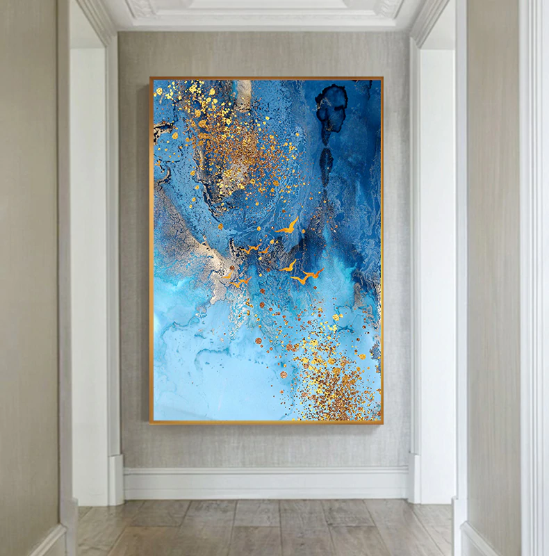 Abstract Golden Foil Canvas Painting Blue Print Poster Big Wall Art Picture For Living Room Nordic Tableaux Abstract Blue Poster
