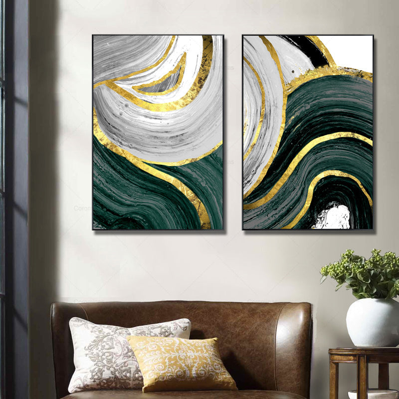 Abstract Golden Green Marble Design Wall Art Fine Art Canvas Prints Luxury Pictures For loft Apartment Living Room Dining Room Modern Home Interior Decor