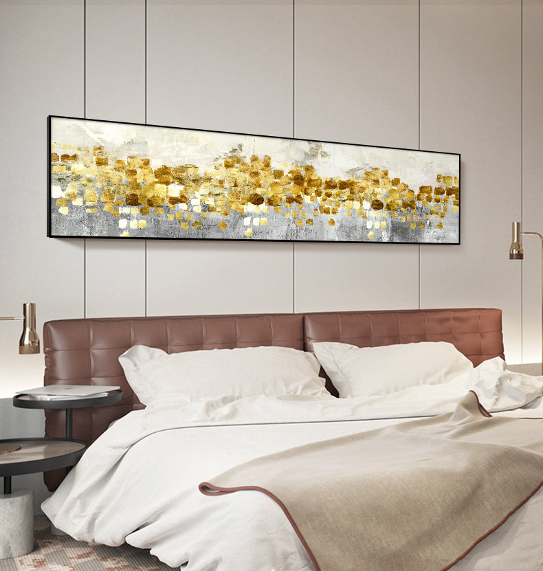 Abstract Golden Horizon Panoramic Wide Format Wall Art Fine Art Canvas Prints Modern Contemporary Picture For Living Room Bedroom Decor