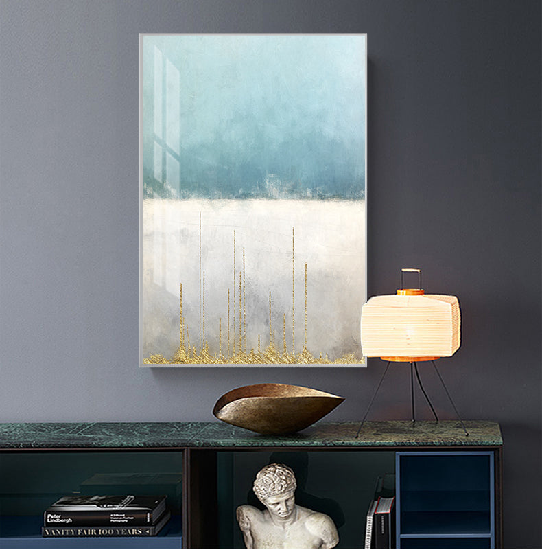 Abstract Golden Horizons Contemporary Nordic Wall Art Fine Art Canvas Prints Modern Minimalist Blue White Pictures For Living Room Office Home Interior Decor