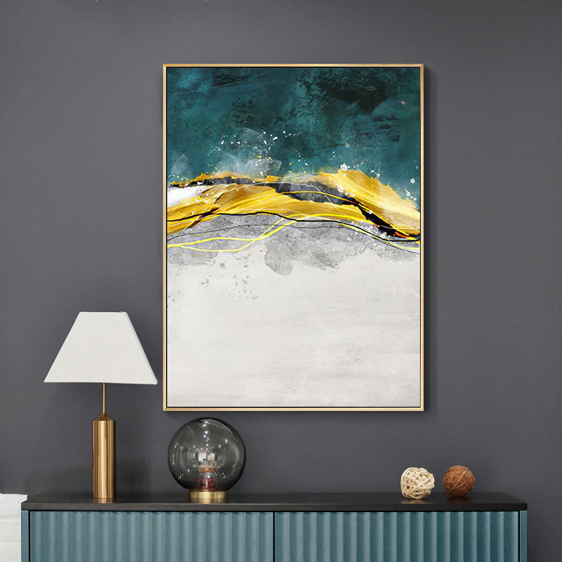 Abstract Golden Horizons Wall Art Sea Green Blue Fine Art Canvas Prints Nordic Style Contemporary Pictures For Living Room Bedroom Modern Home Office Interiors