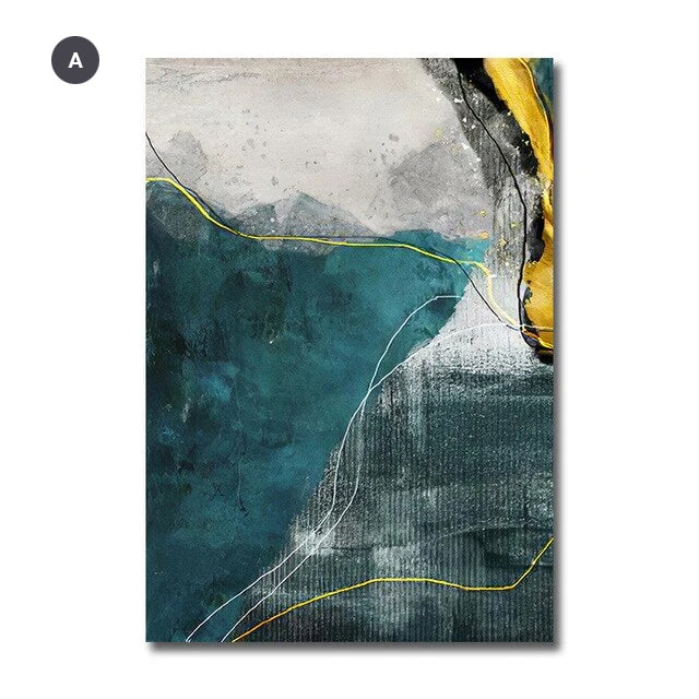 Abstract Golden Horizons Wall Art Green Blue Fine Art Canvas Prints Nordic Style Contemporary Pictures For Living Room Bedroom Modern Home Office Interiors