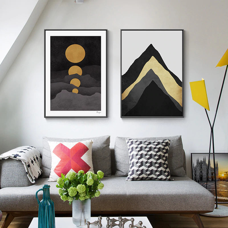 Abstract Golden Moon Mountain Landscape Wall Art Fine Art Canvas Prints Modern Nordic Mountains Moon Clouds And Sky Pictures For Contemporary Home Office Decor