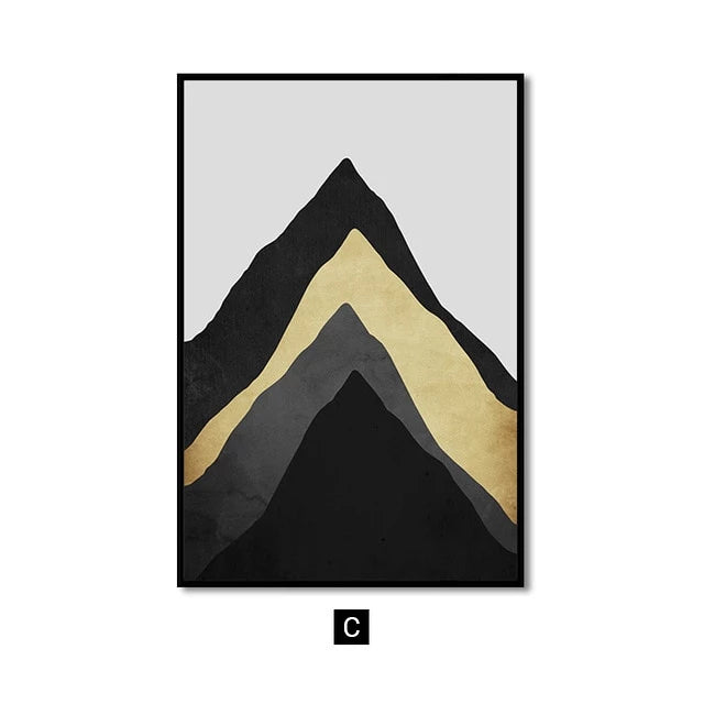 Abstract Golden Moon Mountain Landscape Wall Art Fine Art Canvas Prints Modern Nordic Mountains Moon Rain Clouds Sky Pictures For Contemporary Home Office Decor