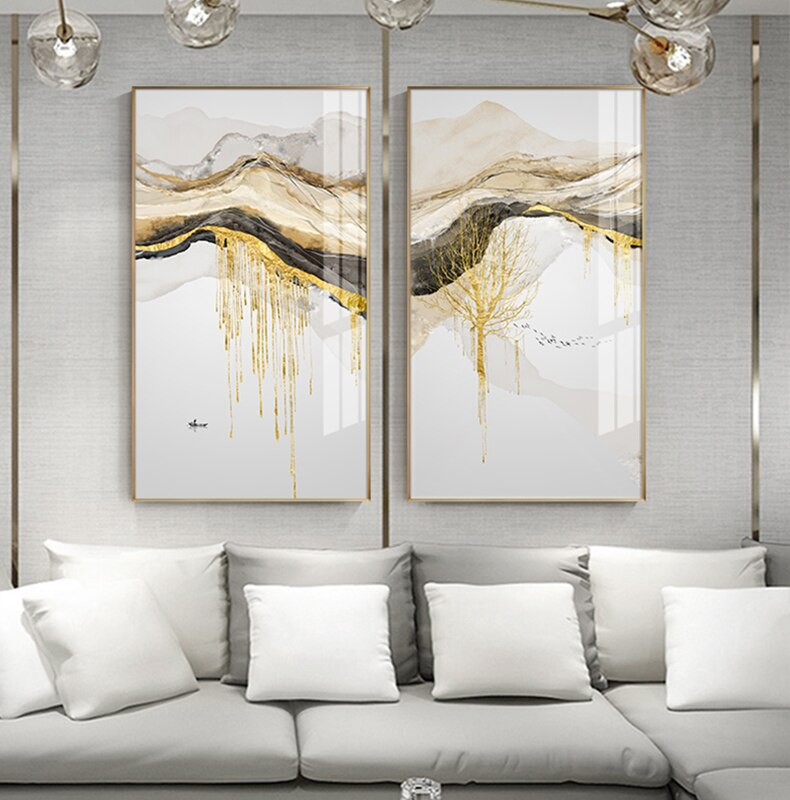 Abstract Golden Mountain Lakeside Scenes Modern Contemporary Landscape Wall Art Fine Art Canvas Prints Luxury Home Office Wall Decor
