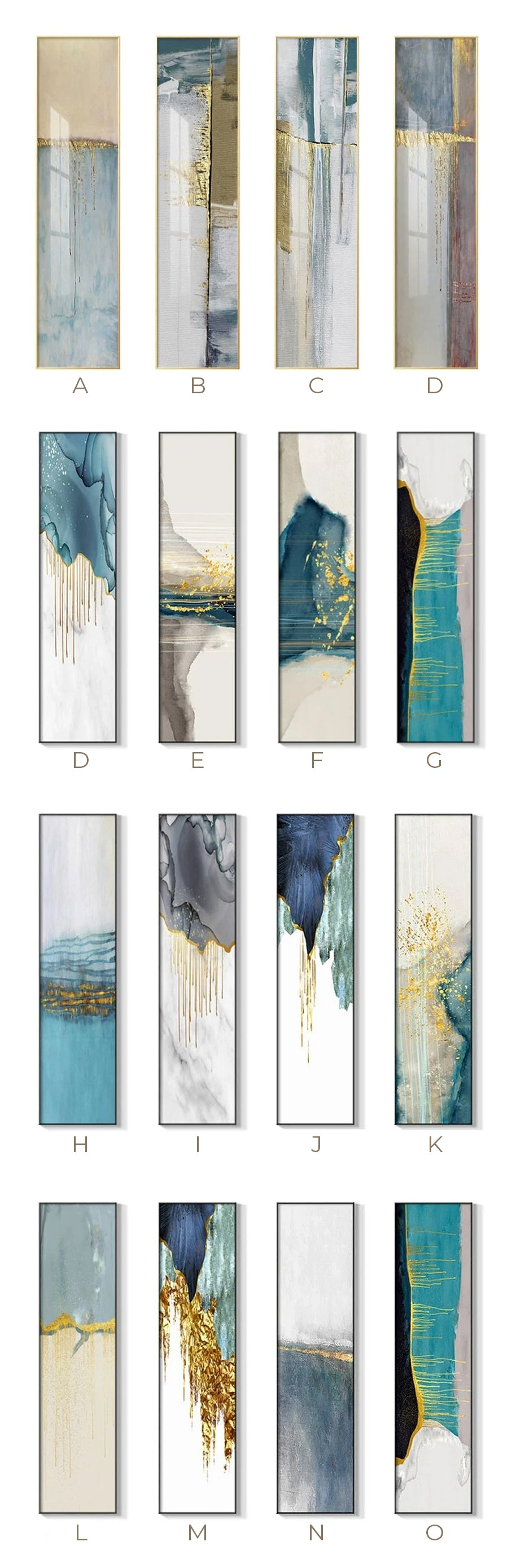 Abstract Geomorphic Elements Vertical Strip Wall Art Fine Art Canvas Prints Wide Format Pictures For Living Room Bedroom Home Office Loft Wall Art Decor