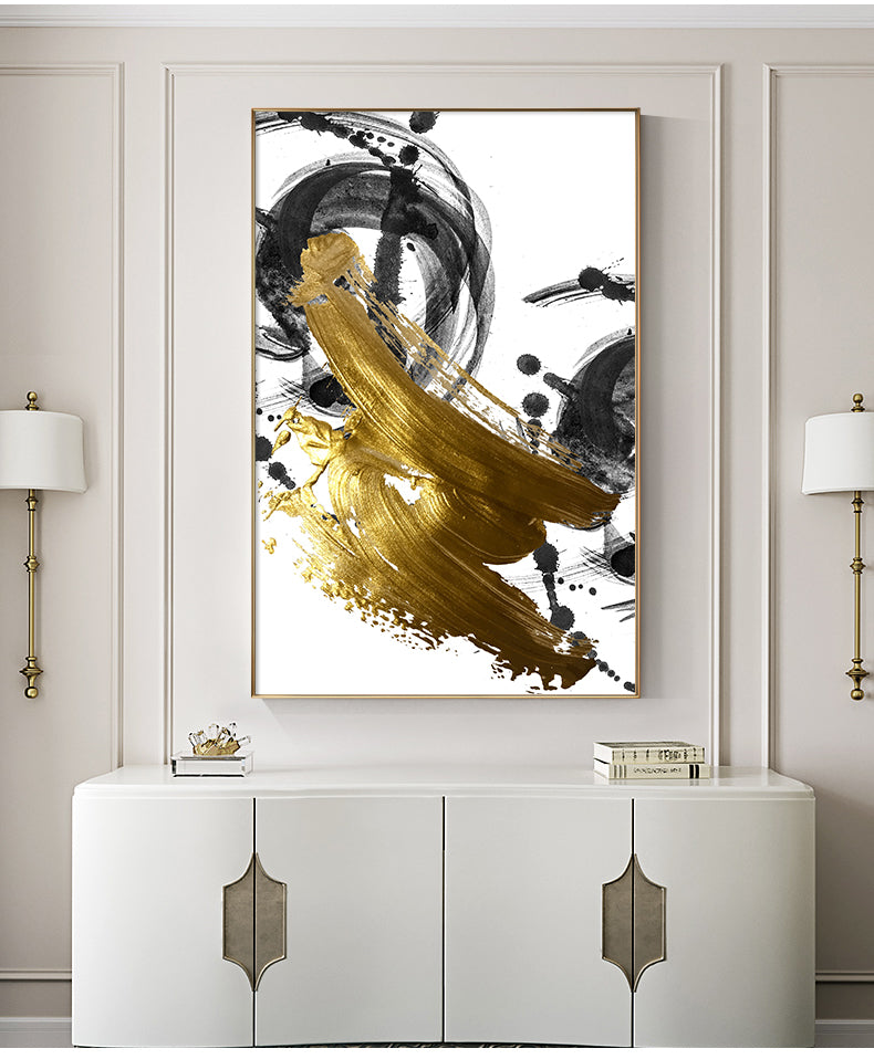 Abstract Golden Swirls Luxury Nordic Contemporary Wall Art Fine Art Canvas Prints Modern Pictures For Office Living Room Modern Home Decor