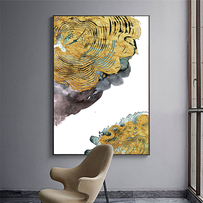 Abstract Golden Tree Rings Wall Art Fine Art Canvas Prints Contemporary Pictures For Loft Apartment Living Room Modern Luxury Home Office Decor