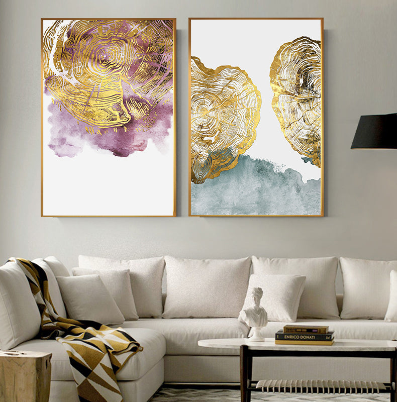 Abstract Golden Tree Rings Wall Art Fine Art Canvas Prints Luxury Pictures For Living Room Dining Room Modern Home Interior Decor