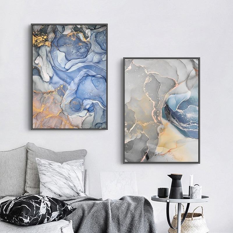 Abstract Grey Blue Marble Effect Wall Art Fine Art Canvas Prints Pictures For Living Room Nordic Style Modern Art Posters For Home Office Interior Decor