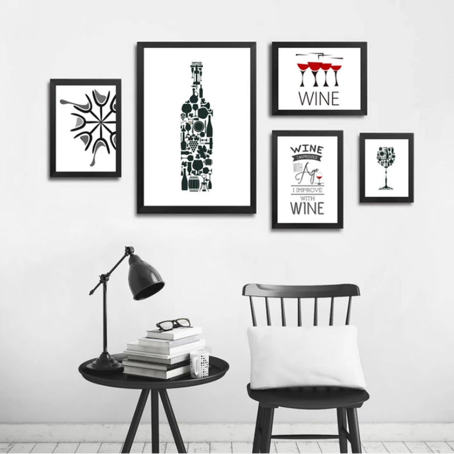 Abstract Kitchen Art For Wine Lovers Minimalist Cafe Wall Art Canvas Prints Black White Red Wine Art For Modern Kitchen Restaurant Home Decor