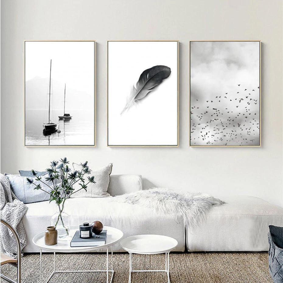 Abstract Landscape Birds Feather Minimalist Nordic Fine Art Canvas Prints Black White Photographic For Modern Home Office Decor Nordicwallart Com