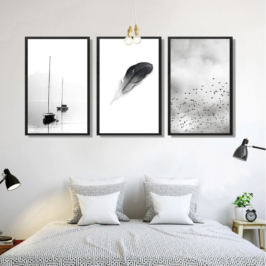 Abstract Landscape Birds Feather Minimalist Nordic Fine Art Canvas Prints Black White White Photographic Art For Modern Home Office Decor