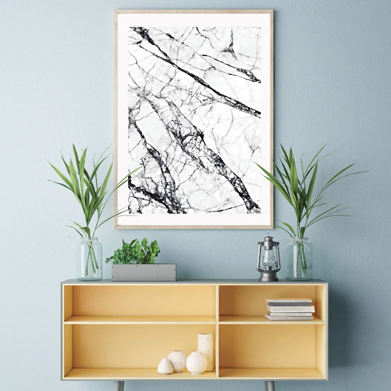 Abstract Marble Effect Wall Art Minimalist Black And White Fine Art Canvas Print Simple Stylish Scandinavian Style Picture For Modern Interior Decor