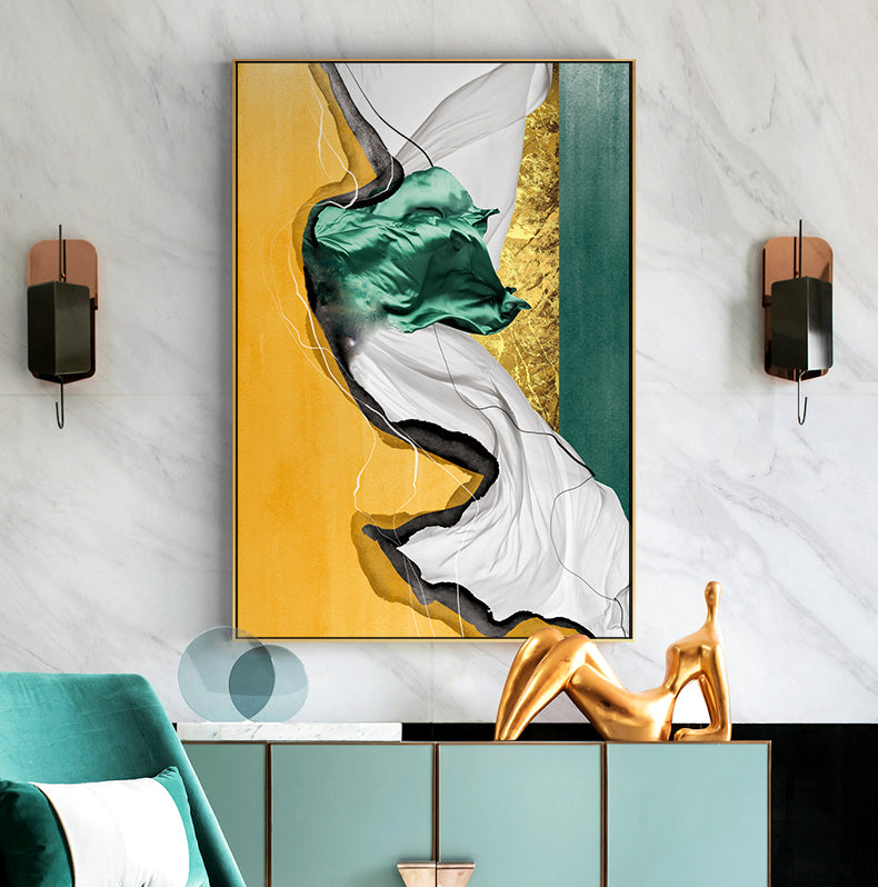 Abstract Marble Luxury Nordic Wall Art Stylish Golden Blue Green Red Fine Art Canvas Prints For Modern Home Office Interior Glam Decor