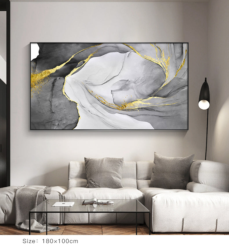 Abstract Marble Swirls Wall Art Golden Veins Blue Gray Marble Fine Art Canvas Prints Modern Stylish Pictures For Contemporary Living Luxury Home Interior Decor