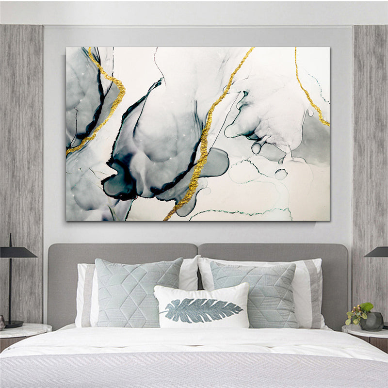 Abstract Minimalist Black White Golden Vein Marble Wall Art Fine Art Canvas Prints Modern Picture For Living Room Dining Room Home Office Decor