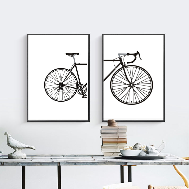 Abstract Minimalist Cycling Poster Wall Art Black and White Nordic Canvas Prints Paintings For Cyclists Pictures For Home Garage