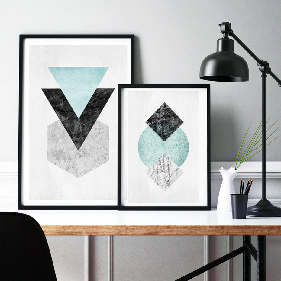 Abstract Modern Geometric Shapes Wall Art Contrasting Shapes Symbols Jade Black Marble Fine Art Canvas Prints For Modern Home Interior Decor