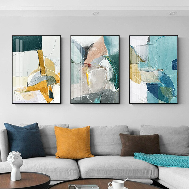 Abstract Modern Marble Design Wall Art Colorful Fine Art Canvas Prints Pictures For Contemporary Living Room Bedroom Wall Decor
