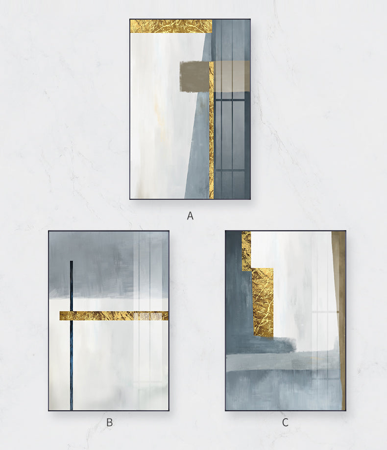 Abstract Modern Nordic Wall Art Grey Blue Golden Fine Art Canvas Prints Pictures For Contemporary Living Room Bedroom Home Office Luxury Interior Decor