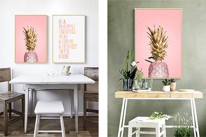 Abstract Modern Pink And Gold Pineapple Inspirational Quotations Fine Art Canvas Prints Paintings For Bedroom Living Room Modern Home Interiors