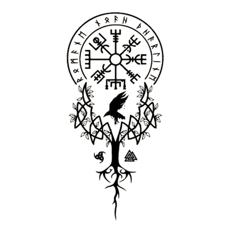 Abstract Mystic Nordic Runic Earthen Tree Chime Wall Decal Removable PVC Wall Mural For Living Room Bedroom Meditation Yoga Studio Decor In Black Or Custom Color