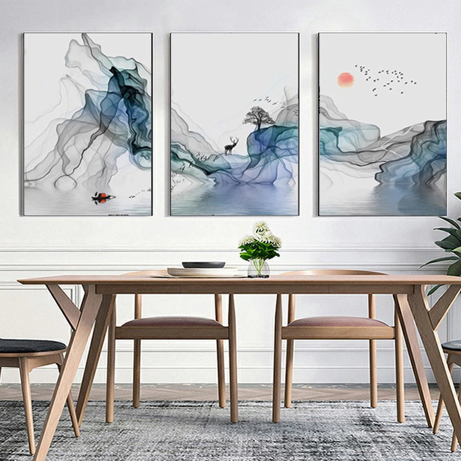 Abstract Mystical Sunrise Wall Art Fine Art Canvas Prints Nordic Style Pictures For Living Room Dining Room Modern Scandinavian Home Decor