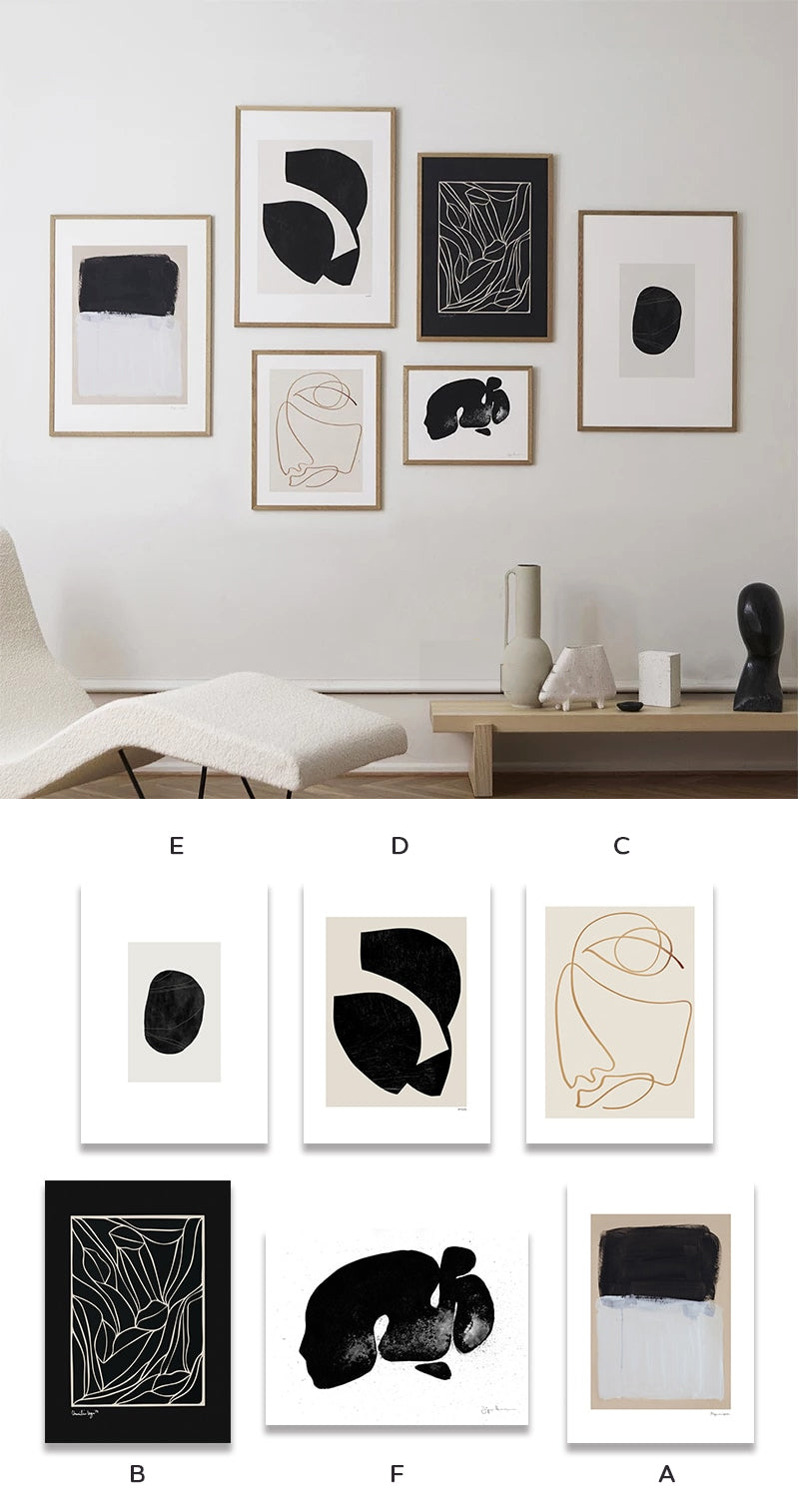 Abstract Neutral Colors Wall Art Fine Art Canvas Prints Minimalist Gallery Wall Pictures For Living Room Dining Room Nordic Style Bedroom Wall Art Decor