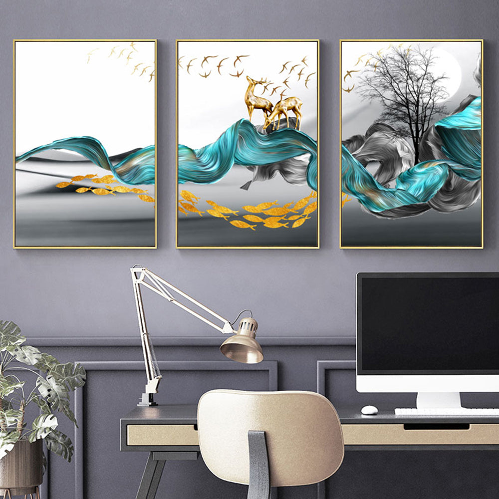 Abstract Nordic Dream Landscape Wall Art Golden Deer Birds Fish Blue Gray Fine Art Canvas Prints Pictures For Luxury Loft Apartment Home Office Interior Decor