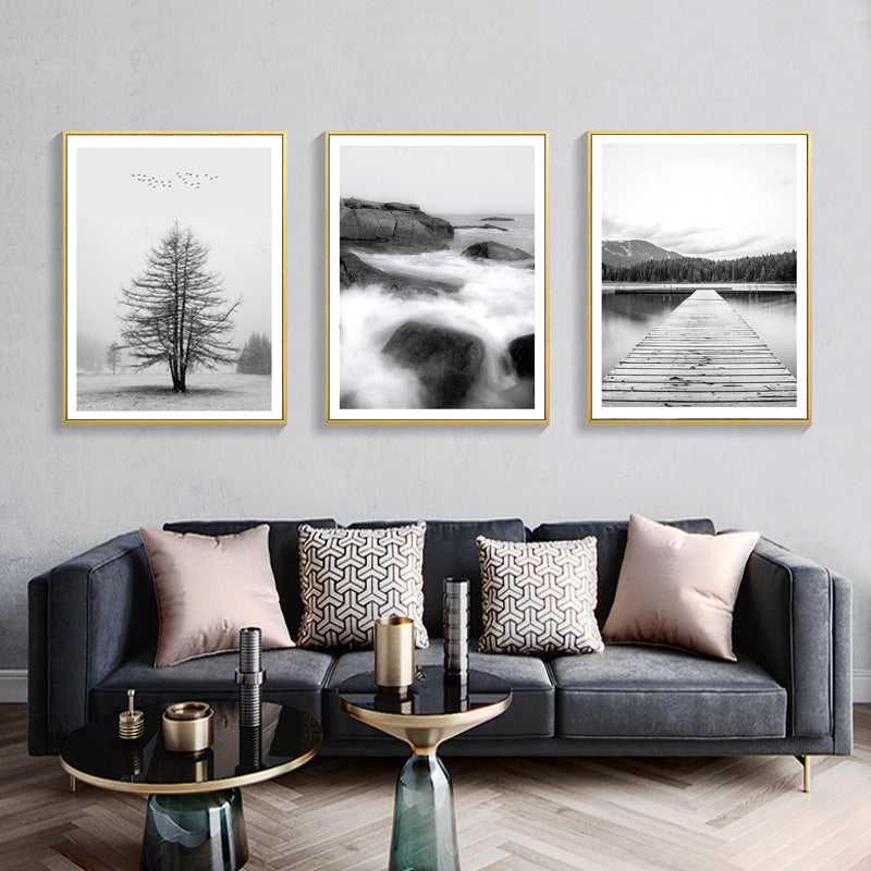Abstract Nordic Dreamy Landscapes Black and White Art Posters Fine Art Canvas Prints Minimalist Photographic Pictures For Modern Home Decor