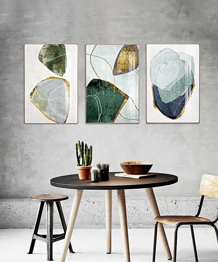 Abstract Nordic Geology Wall Art Colorful Gemstones Ruby Topaz Marble Fine Art Canvas Prints Pictures For Modern Office Home Interior Decor