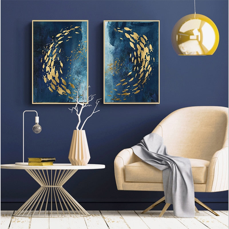 Abstract Nordic Golden Fish in Azure Sea With Gold Butterflies By Night Contemporary Fine Art Canvas Prints For Modern Home Office Interior Decor