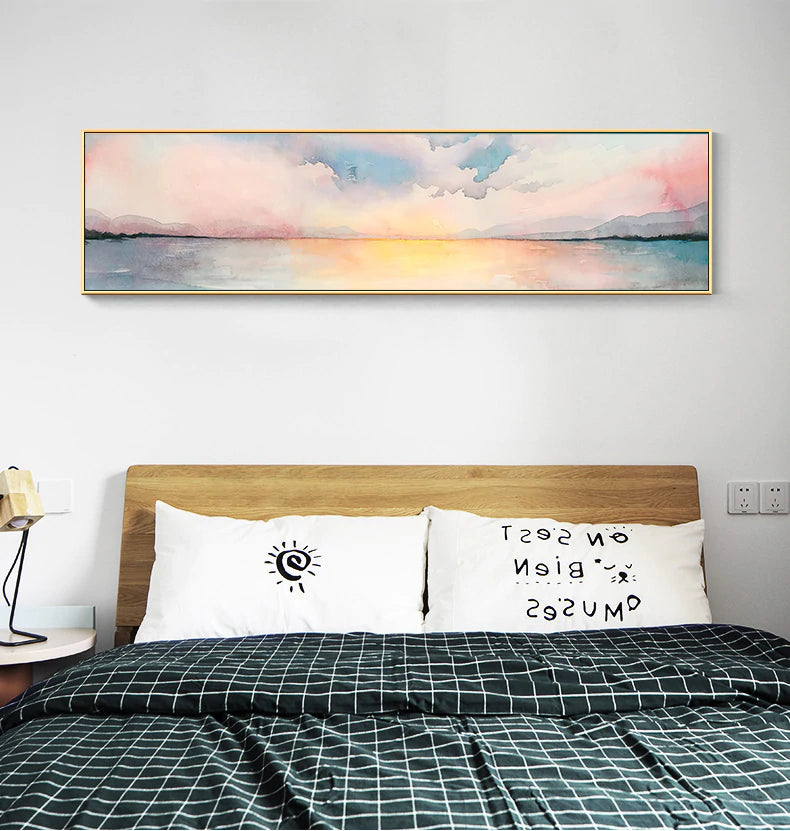 Abstract Nordic Landscape Watercolor Wide Format Wall Art Fine Art Canvas Giclee Print Pastel Colored Sunset Pictures For Modern Bedroom Decor