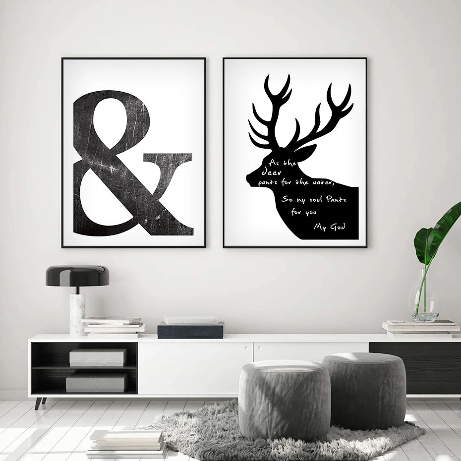 Abstract Minimalist Black And White Nordic Symbols Scandinavian Wall Art Giclee Canvas Posters For Living Room Home Decor