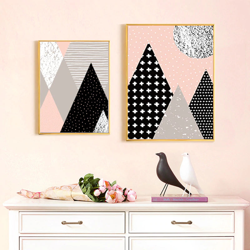 Abstract Nordic Mountain Scenery Wall Art Pictures Pink Black Grey Fine Art Canvas Prints Scandinavian Style Home Interior Bedroom Wall Decor