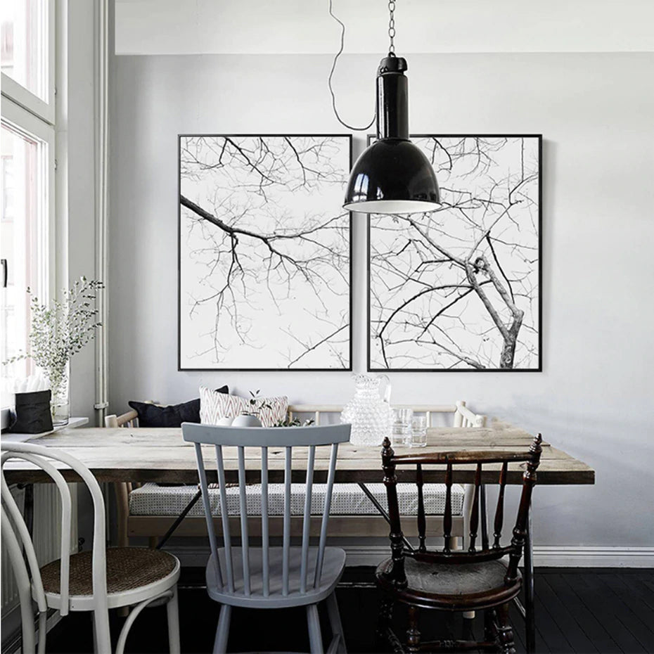 Abstract Nordic Nature Poster Winter Tree Branches Black White Modern Landscape Canvas Print Wall Art For Office Modern Home Decoration