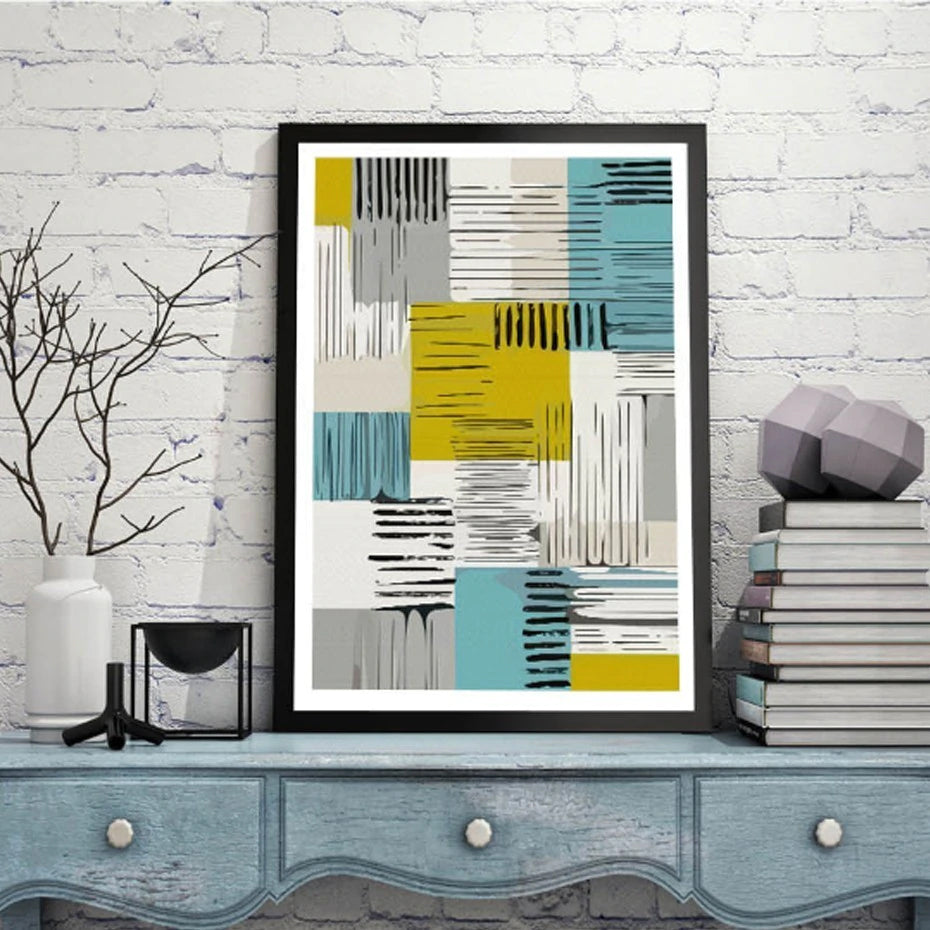 Abstract Nordic Wall Art Prints Geometric Patterns Colorful Contemporary Canvas Posters For Modern Office Interiors and Stylish Home Decor